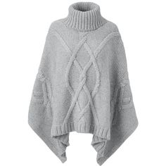 Lands' End Women's Cable Poncho Sweater - Aran (€42) ❤ liked on Polyvore featuring sweaters, tops, poncho, cape, jackets, black, lightweight poncho, cable knit poncho, lands' end and style poncho
