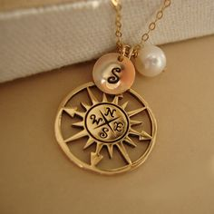 1c5e88598 Personalized Compass Rose Necklace & Gold Filled, Monogram, Cluster Charms  - Follow Your Dreams