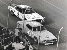 Petty leads Pearson to the line. #OLDSCHOOLNASCAR