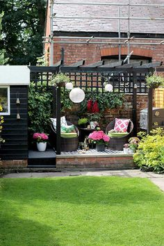 The REVEAL of My Back Garden Patio Makeover! - Swoon Worthy - black shed and pergola patio area with hanging lanterns in pink and green You are in the right place - Diy Pergola, Building A Pergola, Small Pergola, Outdoor Pergola, Pergola Lighting, Wooden Pergola, Pergola Ideas, Patio Ideas, Black Pergola