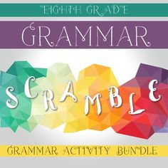 Eighth Grade Grammar Interactive Notebook Pieces and Grammar Scramble. Pieces include: gerund, infinitive, participle, subjunctive mood, interrogative mood, indicative mood, conditional mood, imperative mood, active voice, and passive voice.
