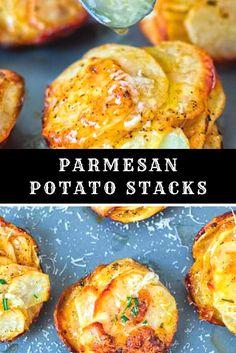 Parmesan Potato Stacks #potatos #recipes - Food Recipes Easy Zucchini Recipes, Easy Cookie Recipes, Yummy Recipes, Yummy Food, Russet Potato Recipes, Potato Hash Recipe, Baked Potato, Goloush Recipe, Easy Alfredo Recipe