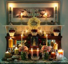 Litha Altar...beautiful and the lighting here is flawless. Really pretty!