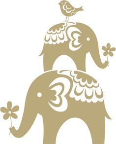 Patterned Elephants with Bird and Flower Wall Sticker - Art Vinyl Stickers | eBay