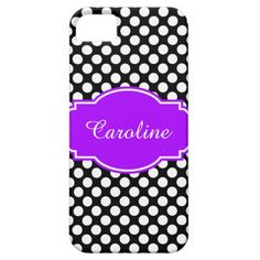 Cute Black & White Polka Dots iPhone Case, Personalize with your name on Purple/White Label
