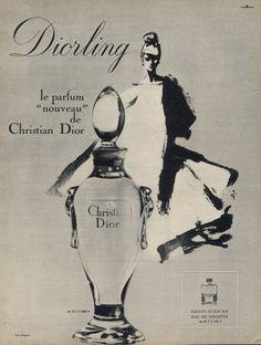 Christian Dior (Perfumes) 1964 Diorling, René Gruau Dior Vintage, Perfumes Vintage, Vintage Beauty, Vintage Ads, Vintage Makeup, Cheap Perfume, Perfume Ad, Perfume Bottles, Parfum Dior