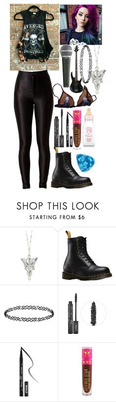 """""""My stage outfit"""" by psycho-alien-deer05 ❤ liked on Polyvore featuring Dr. Martens, Pyle, Dorothy Perkins, Kat Von D, Jeffree Star, rock, A7x, stage and Bass"""