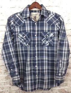 Coastal Mens M Pearl Snap Blue Gray Plaid Snap Front Shirt Casual Cotton Poly LS #Coastal #PearlSnap