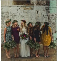 DO NOT like these dresses or colors but love the matching flower crowns (maybe just for a few pictures?)