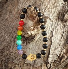 Men's Bracelet, Gold Filled Hamsa Hand Bracelet, 7 Chakras Bracelet, Chic Ethnic Trendy Bling Prayer Yoga Spiritual Religion - Free Shipping $28.00