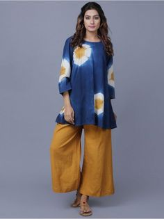 Blue Mustard Yellow Cotton Khadi Clamp Dyed Top