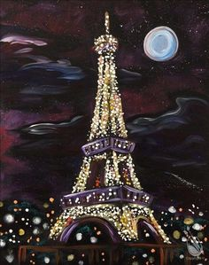 Pick a painting, invite your friends, and enjoy step-by-step instruction with our experienced and enthusiastic local artists. You'll leave with a one-of-a-kind creation and be ready to come back again. Eiffel Tower Lights, Eiffel Tower Art, Iphone Wallpaper Lights, Eiffel Tower Painting, Paint And Drink, Paint Your Pet, Night Sky Painting, Spring Painting, Rainbow Art