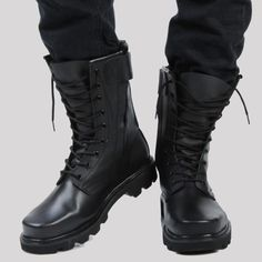 Mens Mototcycle Lace Up Mid Calf Boots Military Desert Combat Boots Cargo Shoes High Ankle Boots, Mid Calf Boots, Black Boots, Tall Boots, Military Shoes, Military Fashion, Military Combat Boots, Mens Military Style Boots, Military Army