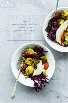 Aran's Warm Roasted Brussels Sprout Quinoa Salad, Pear & Crispy Chorizo Salad on www.christelleisflabbergasting.com