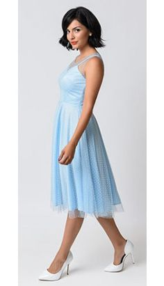 Unique Vintage 1950s Pale Blue Swiss Dot High Society Swing Dress