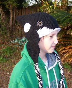 Lil' Orca/Killer Whale Ear Flap Hat.