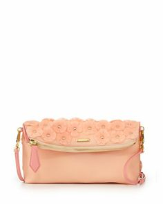 So pretty! Floral+PVC+Shoulder+Bag,+Pale+Cameo+Pink+by+Burberry+at+Neiman+Marcus.