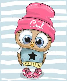 Illustration about Cute Cartoon Owl in a hat and scarf. Illustration of baby, child, cool - 117332851 Cartoon Cartoon, Cute Owl Cartoon, Cartoon Drawings, Cute Drawings, Owl Drawings, Bird Clipart, Owl Bags, Felt Owls, Owl Pictures