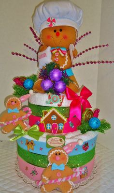 Gingerbread Men Christmas Towel Cake by GABYOLYSCREATIONS on Etsy, $95.00