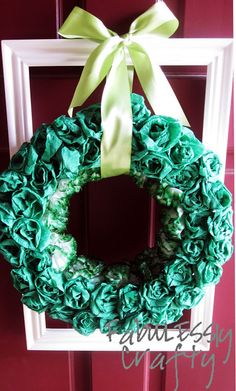 how to make a crepe paper rosette wreath for St. Patrick's Day with Fabulously Crafty