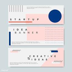 Set of minimal Memphis design start-up banner vector Layout Design, Flugblatt Design, Banner Design Inspiration, Web Banner Design, Memphis Design, Conception Memphis, Rollup Design, Linkedin Banner, Creative Banners