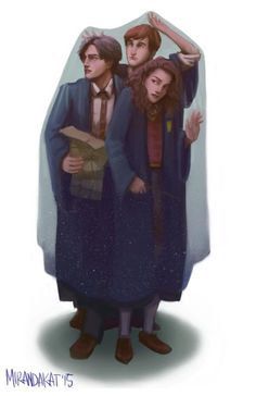 Harry Potter Ron and Hermione under invisibility cloak drawing Harry Potter Fan Art, Images Harry Potter, Mundo Harry Potter, Harry Potter Drawings, Harry James Potter, Harry Potter Characters, Harry Potter Universal, Harry Potter Fandom, Harry Potter World