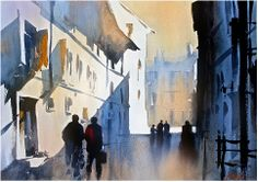 """simple shadow study"" thomas w schaller watercolor 15x22 inches 03 March 2014"