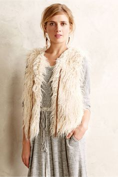Anthropologie First Frost Vest Size M, Ivory Faux-Fur Shaggy Topper By Hei Hei #HeiHei #Vest