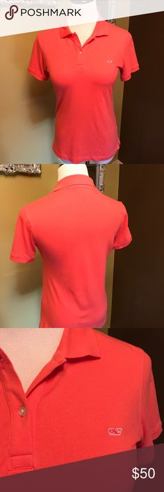 "Vineyard Vines Coral Golf Polo Vineyard Vines coral golf polo with hot pink whale logo on left breast. Breast 36"", sleeve 7"" and length 23"". Perfect for back to school! Pair it with jeans or shorts. Both of which I have in my closet so bundle it! Please let me know if you need more pix or have any questions. All of my items come from a smoke/pet free home. I'm ready to get rid of everything so please make me an offer. Or better yet, bundle it, save more! Vineyard Vines Tops"
