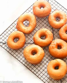 Krispy Kreme Doughnut Recipe (Copycat) - Immaculate Bites To make gluten free: use cups Caputo fioreglut flour, cup King Arthur flour, 3 cups milk, half the yeast, pipe onto parchment and let rise for 1 hr then fry in 360 degree oil Krispy Cream Donuts Recipe, Krispy Kreme Donut Recipe, Cream Donut Recipe, Easy Donut Recipe, Yeast Donuts, Mini Doughnuts, Mini Donut Recipes, Homemade Donuts, Recipe Filing