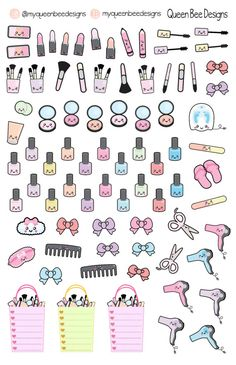 KAWAII Beauty sampler planner stickers for by MyQueenBeeDesigns