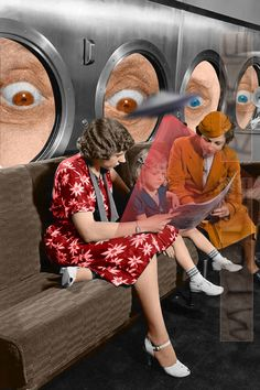 How it used to feel, when you're the only one with something to read! Surreal Collage, Collages, Surreal Art, Arte Peculiar, Montage Art, Comics Vintage, Retro, Photocollage, Psychedelic Art
