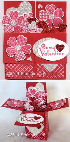 Stampin' Up! Cards - Valentine Box Card, Flower Shop, Petite Petals, Delightful Dozen Stamp Sets.