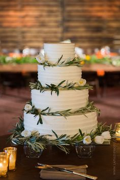 Simple Wedding Cake. Olive Branches