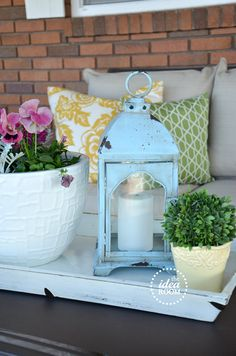 Yellow, green, blue & pink all come together on a sweet porch for summer at theidearoom.net