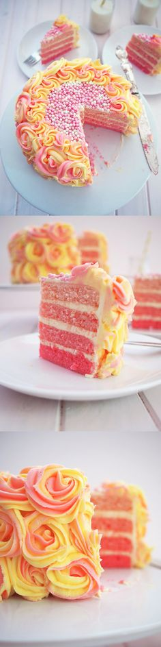Pink Rainbow Lemonade Cake with Buttercream Icing Recipe ~ Refreshing, and colorful. No cake is complete without delicious icing, and this pink lemonade cake has endless layers of creamy buttercream – yummm! Just cuz i like ombré & lemonade! Lemonade Cake Recipe, Pink Lemonade Cake, Cake Recipes, Dessert Recipes, Dessert Ideas, Cake Ideas, Bolo Cake, Pretty Cakes, Creative Cakes