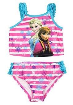 6cfbb4bbc0a96 Disney Frozen Little Girls Elsa Anna Two Piece Tankini Swimsuit 2T -- Want  to know