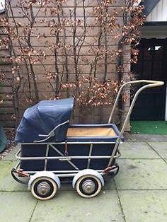Kinderwagen vintage antiek jaren 50 met hoge duwstang