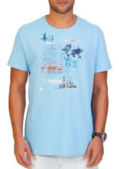 Nautica Light Haze Big  Tall Ellis Island Graphic T-Shirt
