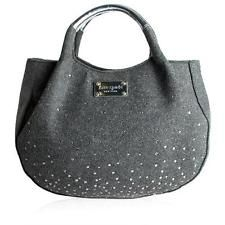 Kate Spade frosted dipped grey silver TREESH sparkle handbag wool felt leather
