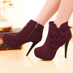 Bow Embellished Stiletto Heel Fashion Boots                                                                                                                                                                                 More Bootie Boots, Heeled Boots, Shoe Boots, Boot Heels, Cute Shoes Boots, Shoes Wedges Boots, Ankle Boots, Dream Shoes, Crazy Shoes