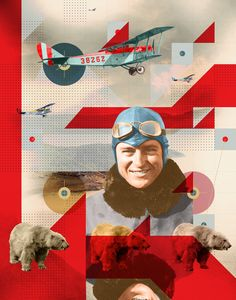 Part of a print series focused around pilots, their spirit animals, and vintage planes.