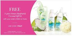 Pamper yourself with this free 5-piece Gift set with your order of $50 or more. Place your order at www.youravon.com/Christinastrand and choose direct delivery. Expires 7/31/16