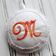 Embroidered Felt Ornament  Personalized  Door by JemmDeeStudio