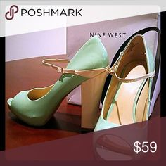 Nine West pastel Peep Toe Mary Jane Pumps Adorable honeydew-green, 2 tone, peep toe 4 inch heels.  Comfortable and fashionable.  Worn twice and in great condition!  Original box included. Nine West Shoes Heels
