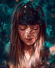 Painting artwork woman by angelganev Girly Drawings, Art Drawings, Portrait Art, Digital Portrait, Mundo Hippie, Cartoon Art Styles, Digital Art Girl, Anime Art Girl, Girl Cartoon