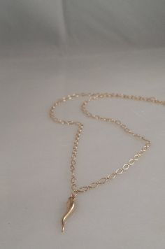 14K SOLID Gold  Italian Horn Necklace by ArbotiqueDesigns on Etsy, $269.00