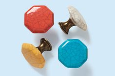 For a quick cabinet or vanity makeover, Crackle Hexagonal Knobs from Home Decorators have a colorful crazed-ceramic head in four colors and an antiqued-brass-finish base. Find them at @homedepot