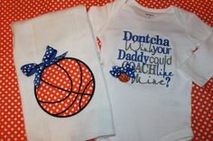 Daddy or grandpa basketball coach baby one piece and burpcloth baby gift for boy or girl on Etsy, $32.00