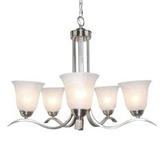 LNC Modern Antique 5-light Iron Brushed Nickel Finish Chandeliers Lighting